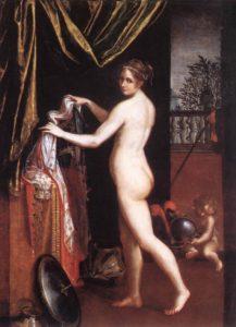 Minerva in atto di abbigliarsi