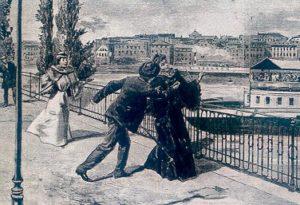 Luigi Lucheni colpisce l'imperatrice Elisabetta con una lima.