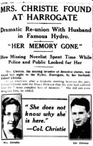 Notizia del ritrovamento della scrittrice sul Daily Herald del 15 dicembre del 1926.