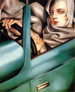 Tamara de Lempicka in una bugatti verde